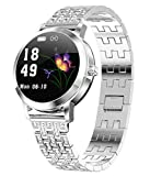 Womens Fitness Tracker Blood Pressure Heart Rate Monitor Activity Tracker Waterproof Pedometer Step Counter Calorie Sleep Monitor Touch Screen Bluetooth Smart Watch for Android iOS