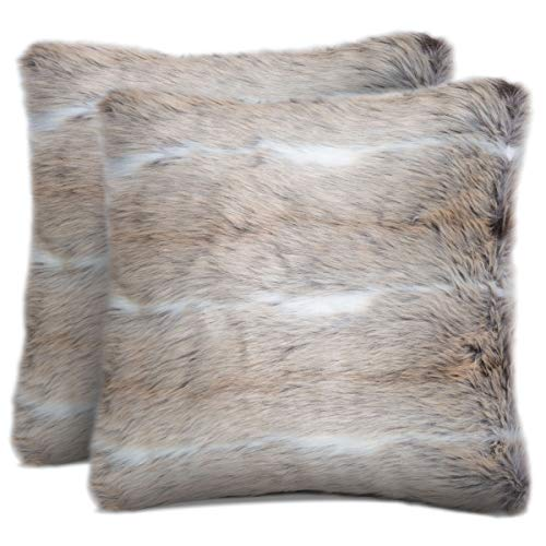 Rendiele Fluffy Soft Decorative Pillow Covers Faux Fur Cushion Cover Square Throw Pillow Case Pillowcases for Couch, Livingroom, Sofa, Bed, 40cm x 40cm, Pack of 2 (Faux Fur)