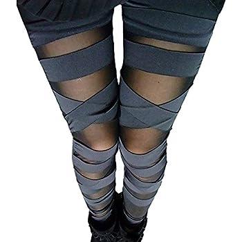 Abyelike Women s Nylon Mesh Black Sexy Solid Color Bandage Straps Leggings Tight Pants One Size