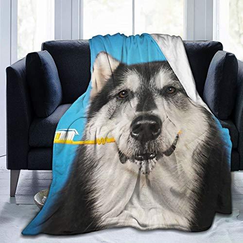TOBEEY Manta clásica de franela de forro polar para todas las estaciones, ultra lujosa manta de microfibra esponjosa para el dormitorio (un perro con cepillo de dientes, 101 x 122 cm)