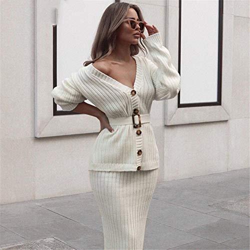 WLXFVNYBD Zweiteilige Strickkleid Set Frauen Elegante Herbst Winter Pullover Kleid Anzüge Langarm Knopf Schärpen weiblichen Rock Anzug @ M
