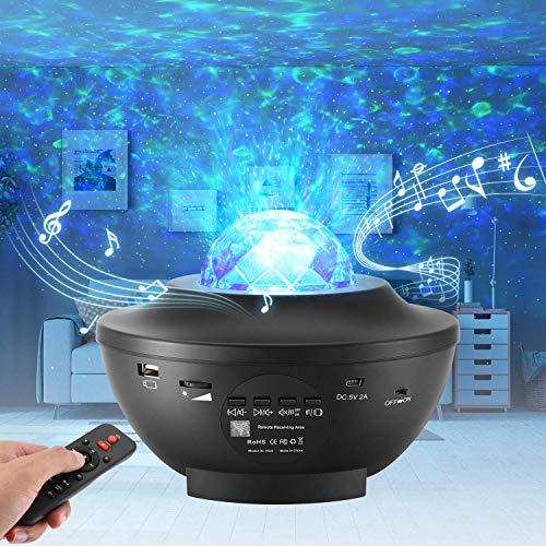 LED Sternenhimmel Projektor,Rotierendes WasserwellenproJektorlicht,Ferngesteuertes Nachtlicht,Farbwechselnder Musikplayer mit Bluetooth,Geeignet für Baby-Erwachsenenpartys und Weihnachtsgeschenke