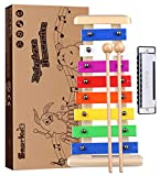 Smarkids xilofono madera infantil, juguetes musicales para niños glockenspiel xilofono instrumento musical armónica infantil instrumentos de percusión juguetes niños educativos regalos niños y niñas