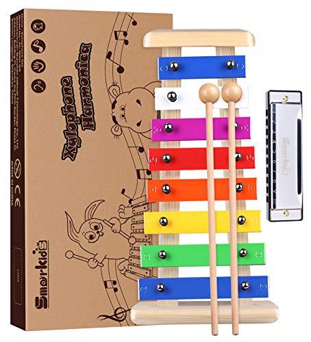 Holz Xylophon für Kinder - mit Mundharmonika und Lieder Buch: Perfekt Oktave Glockenspiel f. Kleine Musiker - Baby Schlaginstrument Musikinstrument ab 3 Jahren - Smarkids