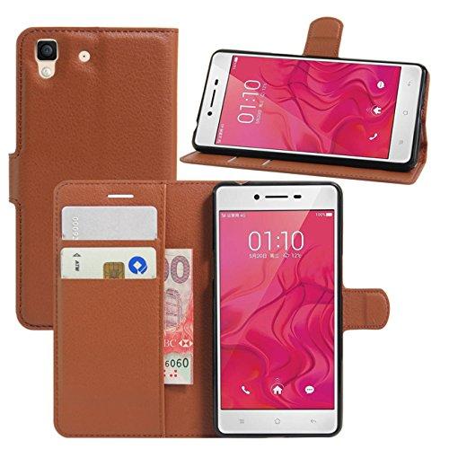 HualuBro Oppo R7 Hülle, [All Aro& Schutz] Premium PU Leder Leather Wallet HandyHülle Tasche Schutzhülle Flip Hülle Cover mit Karten Slot für Oppo R7 Smartphone (Braun)