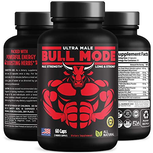 Bull Mode Premium Male Enhancing Pills [9 Potent Ingredients] - Helps Increase Muscle Size, Strength, Stamina, Energy and Endurance. All Natural Male Formula, Made in USA, 60 Caps