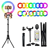 10' Ring Light with Stand Udreamer 16 Colors RGB LED Ring Light with 2 Tripod and Phone Holder 3000K-6000K Dimmable 10 Brightness Level Camera Remote for YouTube Video, Live Stream, Makeup,Photography