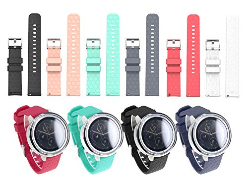 Price comparison product image Chofit Sport Band 20MM 6Pcs Replacement Watch Band Strap Compatible with Amazfit Bip, Compatible with Ticwatch E, Compatible with Garmin Vivomove / Vivoactive 3 / Forerunner 645 Music