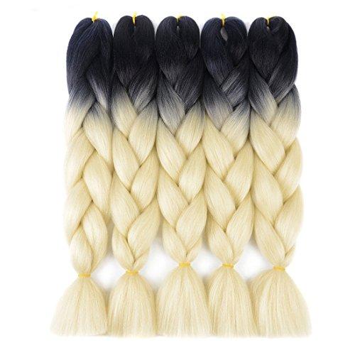 Ding Dian Ombre Braiding Hair Kanekalon Jumbo Braids Synthetic Braiding Hair 5Pcs/Lot Hair Extension for Twist Braiding Hair (Black-Blonde)