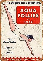 1952ミネアポリスアクアテニアルアクアフォリーズコレクタブルウォールアート