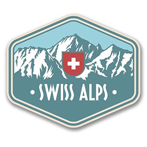 2 x 10cm/100 mm Alpes Suizos Suiza Etiqueta autoadhesiva de Vinilo Adhesivo portátil de Viaje Equipaje Signo Coche Divertido #6389
