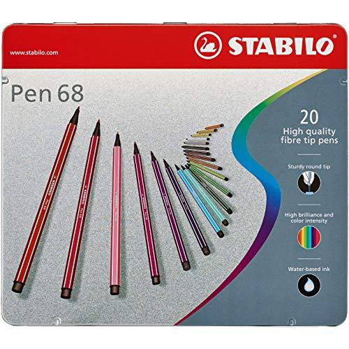 Pennarello Premium - Stabilo Pen 68 - Scatola in Metallo da 20 - Colori assortiti