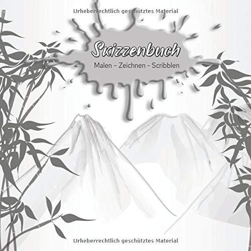 Skizzenbuch Malen - Zeichnen - Scribblen: Schönes blanko Skizzenbuch mit Aquarellmotiv für deine spontanen kreativen Ideen I weißes Papier I mit ... und Titelvermerkmöglichkeit auf jeder Seite