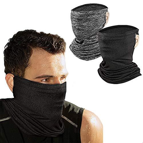 DALV Neck Gaiter Bandana Ear Loops 2 Packs, UV Sun Protection Cool Face Cover Reusable Magic Scarf Balaclava for Men&Women
