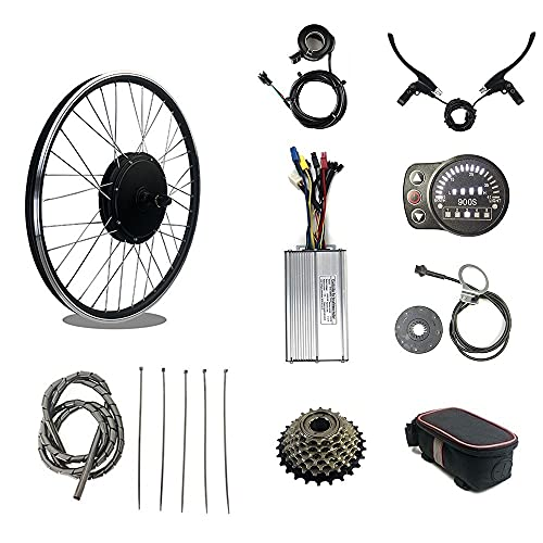 RICETOO Electric Bicycle Kit 48V 1500W Rear Rotate Motor Wheel Brushless Gearless Spoke Hub Motor 20' 24' 26' 27.5' 28' 29' 700C With KT-LED900S Display E-bike Conversion Kit (48V 1500W 26 inch)