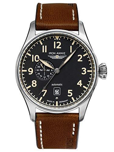 IRON ANNIE Flight Control Herrenuhr Automatik 24-Stunden-Anzeige schwarz mit braunem Lederarmband 5168-2
