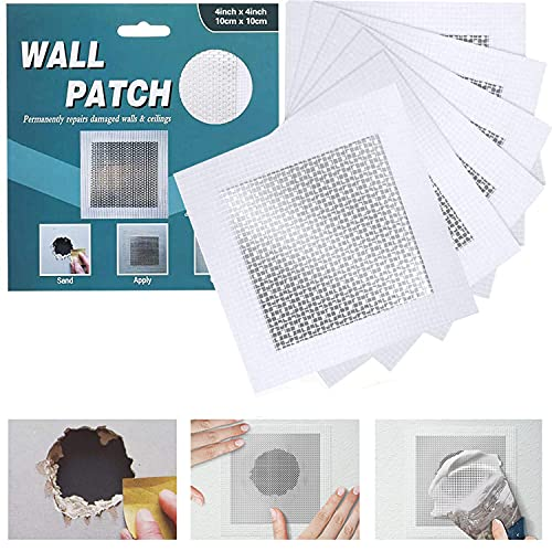 WDSHCR Drywall Repair Patch 4 Inch 6 Pack, Safe Mend Wall Repair Self Adhesive Fiberglass Wall Repair Patch Kit, Aluminum Metal Sheetrock Ceiling Dry Wall Patch (4