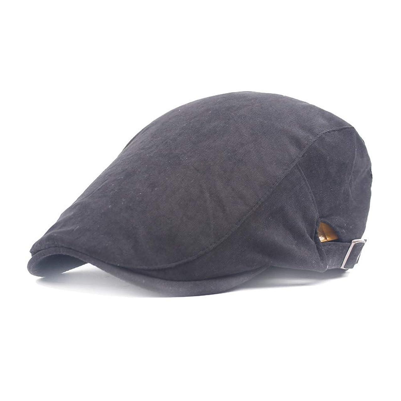 ネクタイ地上で巡礼者レディースハット 2019ベレー帽コットンレディース無地フォワードキャップメンズカレッジ風シンプルフォワードキャップペインターハット (色 : ブラック, サイズ : 56-58CM)