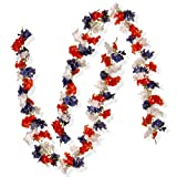 National Tree Set of 2 6 Foot Patriotic Garland with Red, White and Blue Hydrangeas (RAP-528401G-1)
