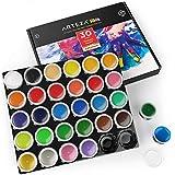 ARTEZA Peintures au Doigt pour Tout-Petits, Non Toxique, Jeu de 30 Couleurs, contenants de 1 oz, Lavable, Set d'art pour Enfants, pour projets de Papier, Toile et Bricolage