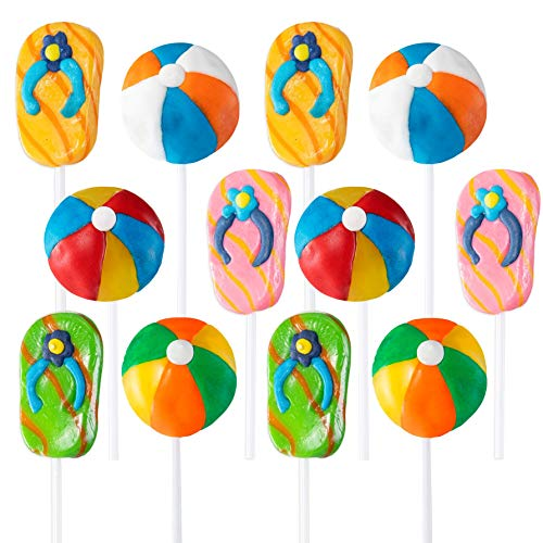 Beach Themed Lollipops Beach Accessories Shaped Suckers Pack of 12 Pops for Beach and Poolside Birthday Party Favor or Parties Decoration