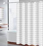 Sosila Duschvorhang Textil, Anti-Schimmel, wasserdicht, Schimmelresistent, Wasserabweisend, Anti-Bakteriell, Waschbar, 100prozent Polyester inklusive 12 Ringe Duschvorhanghaken (Kariert-2, 120 x 200 cm)