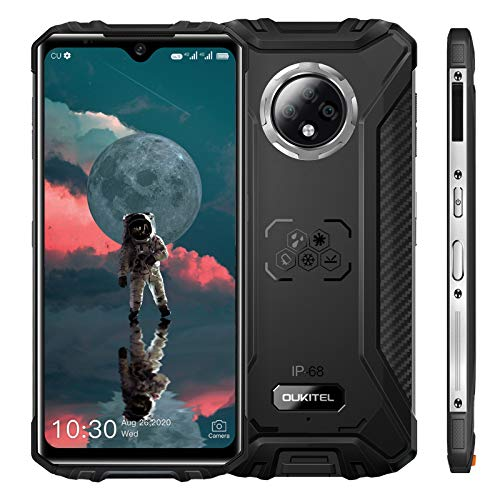 OUKITEL WP8 PRO IP68 Rugged Smartphone in Offerta,Android 10 Dual 4G telefono Impermeabile Antiurto con NFC,Batteria 5000mAh,4+64GB ROM,6.49''HD Schermo,Triple Camera 16MP,Face ID,Fingerprint (Nero)
