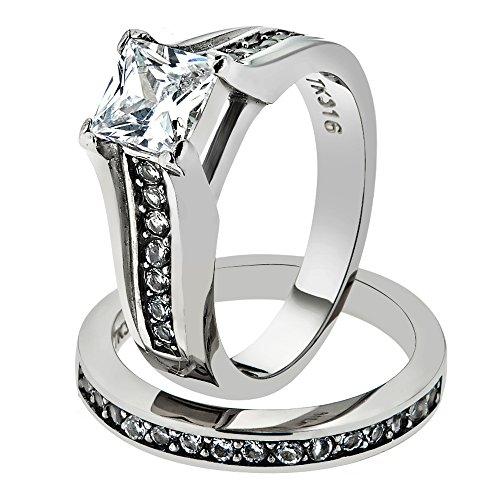 Marimor Jewelry Princess Cut Zirconia Stainless Steel 316 Wedding Ring Band Set Womne's Size 6