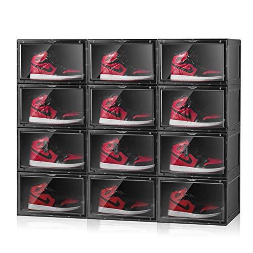 S-JIANG Shoe Storage Boxes Clear Stackable Women Men Sneaker Storage Display Box Foldable Shoe Organizer Box Black Closet Bedroom Plastic Shoe Boxes Black 6 Pack