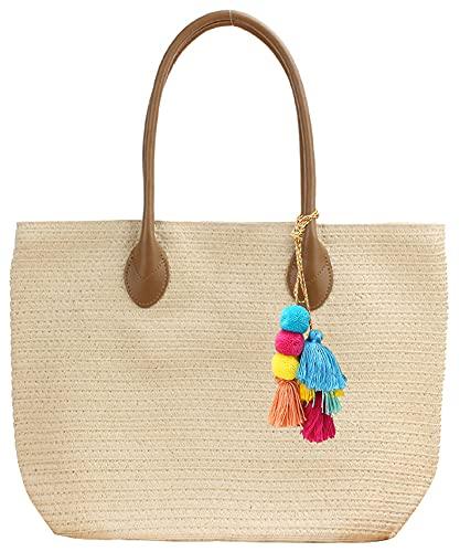 Women Large Straw Woven Tote Summer Beach Handmade Weaving Shoulder Bag Handbag with Pom Poms