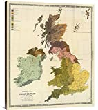 Global Gallery Budget GCS-295530-36-144 Historical Map Gustaf Kombst Ethnographic Britain in This case That Color is Turkish Coffee 1856' Museum Wrap Giclee on Canvas Wall Art Print
