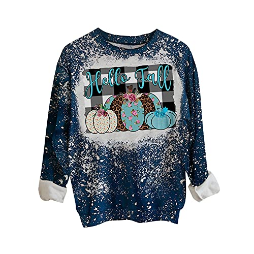 JPVDPA Women's Casual Loose Fit Tunic Funny Thanksgiving Tie-dye Print Pullover Fall Fashion Clothes for Women White