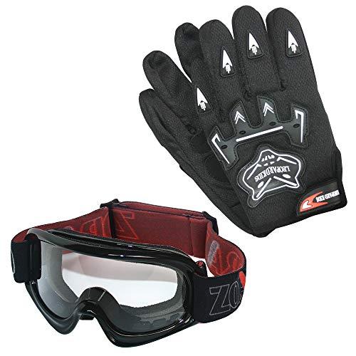 Leopard Kinder Motocross Schwarz Handschuhe (M - 6cm) und Zorax Brille Cross Motorrad Quad Off-Road für Youth