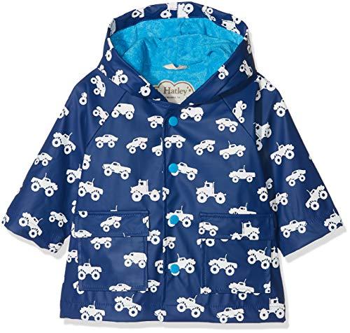 Hatley Baby Printed Raincoat Manteau imperméable, Bleu (Colour Changing Monster Trucks), 12-18 Mois Bébé garçon