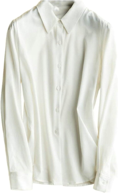 Gocgt Womens Satin Silk Long Sleeve ButtonDown Shirt Work Blouse Tops