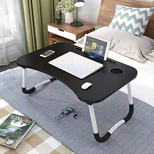Folding Laptop Stand Holder Portable Study Table Desk Wooden Foldable Computer Desk for Bed Sofa Tea Serving Table Stand Black