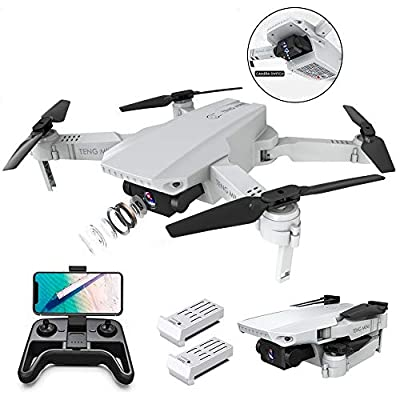 OBEST Drone with Dual Camera HD 4K, Smart Follow, WiFi FPV Live Video, Gesture Operation, Headless Mode, 2.4Ghz Mobile Remote Control Foldable Quadcopter for Beginner Kids Adults, 2 Batteries