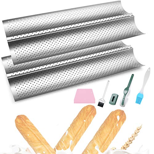 Bread Pan,Bread Pans For Baking,Baguette Pans for Baking,French Bread Pans for Baking/ 2 Loaf,Baguette Tray Baking Nonstick Bread Pan, 2PCS