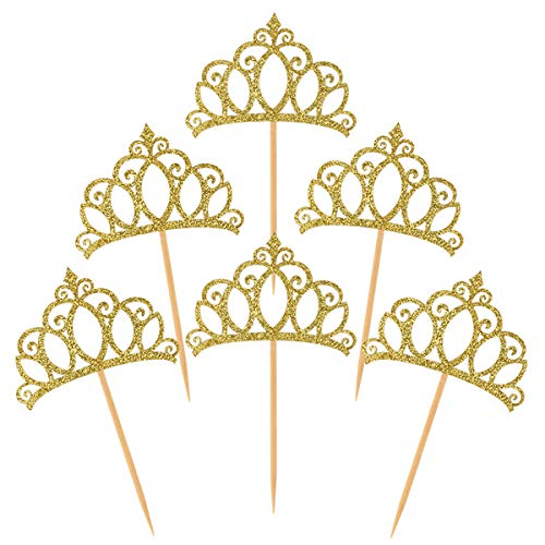 Donoter 48 Pieces Gold Glitter Princess Crown Cupcake Toppers Picks for Birthday Baby Shower Party Cake Decorations