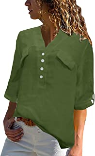 TINGZI Women Tees Plus Size Vintage Half Sleeve Shirts V-Neck Button Top T-Shirt Blouse Casual Comfy Tunic