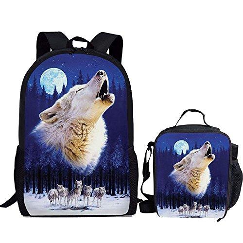HUGS IDEA Moon Wolf Pattern 2 Pcs Children School Backpack Teen Boys Shoulder Bookbag with Lunch Bag