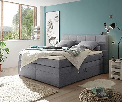 DELIFE Bett Tajo Strukturgewebe Dunkelgrau 180x200 cm mit Matratze und Topper