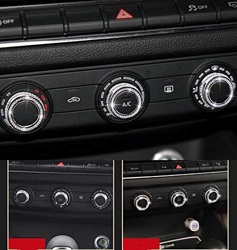 Car Interior Bling Accessories for Audi A3 S3 Air conditioner knob 3D Rhinestone Decals Ring Car Bling Accessories for Women