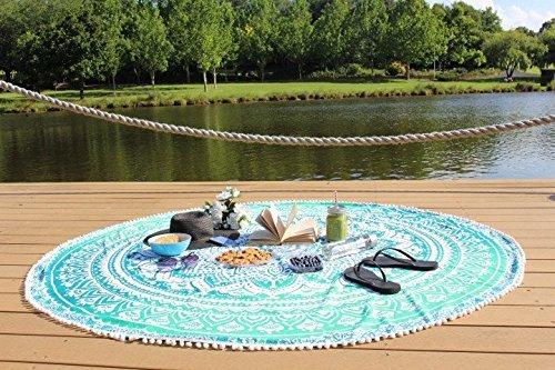 NANDNANDINI TEXTILE - Manta India Mandala Roundie Beach Throw Tapiz Hippy Boho Toalla de algodón Gypsy Toalla de Playa, Round Yoga Mat, 180 cm o 72 pulgadas ronda