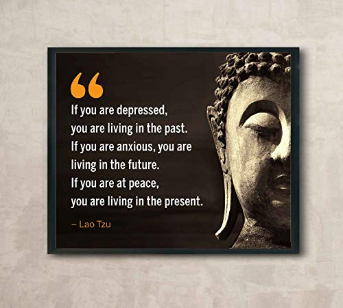 "Lao Tzu Quotes- ""If You Are at Peace-Living in the Present""- Inspirational Wall Art- 10 x 8' Spiritual Poster Print with Buddha Image-Ready to Frame. Home-Office-Studio-Spa Decor. Perfect Zen Gift!"