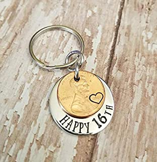 Lucky 2003 Penny Happy 16th Birthday Gift with a Copper Coin Key Chain