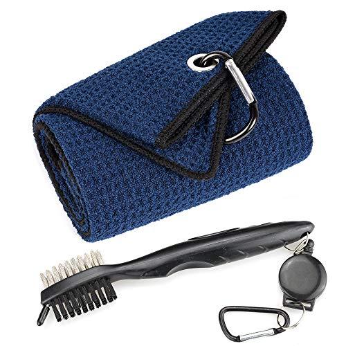 Mile High Life - Toalla de golf de microfibra con patrón de gofres de tres pliegues | Kit de herramientas de cepillo con limpiador de ranuras