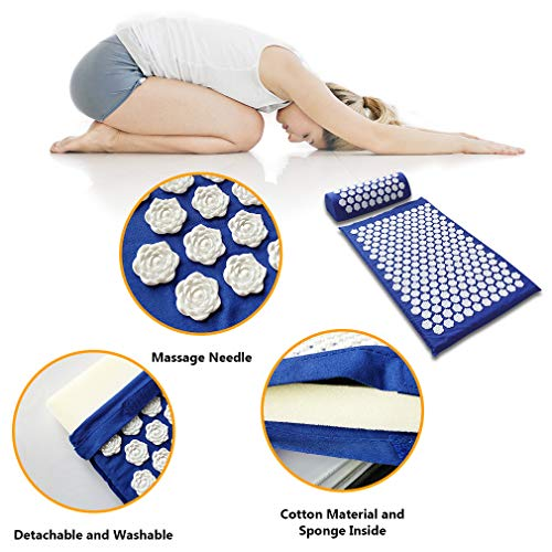Tapusen Tapis d'acupuncture Lotus Massage Tapis de yoga Coussin de massage de remise en forme Tapis d'acupuncture Tapis de massage Tapis d'acupression et coussins