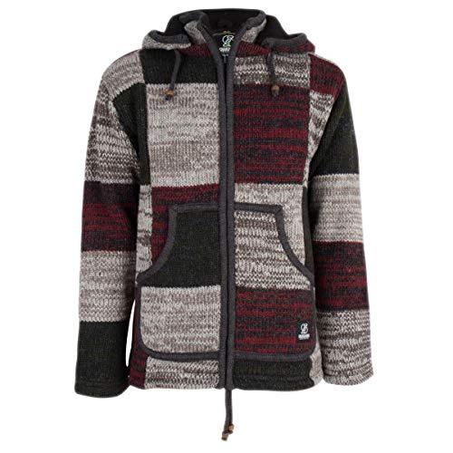 SHAKALOHA - Top kwaliteit heren patchwork vest met gemengde bonte kleuren - M Patch ZH BurgundyGreyGr Man/Unisex - fleece gevoerd schapenwollen vest uit Nepal. Afneembare capuchon. Warm jack.