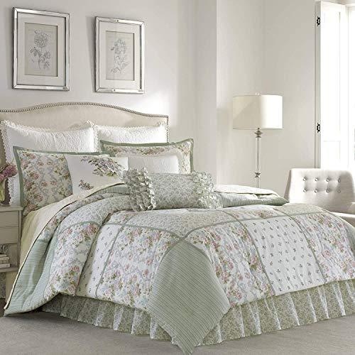 Laura Ashley Home | Harper Collection | Luxury Ultra Soft Comforter, All Season Premium Bedding Set, Stylish Delicate Design for Home Décor, Queen, Sage